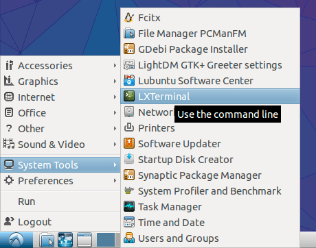 Lubuntu Command Line for Beginners Quick Start - open terminal