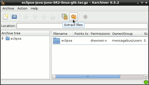 Install Eclipse for Java Developers on Fedora 18 Xfce - Extraction
