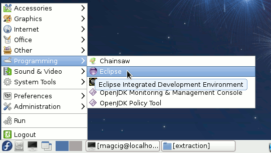 Fedora Linux Lxde Eclipse Launcher