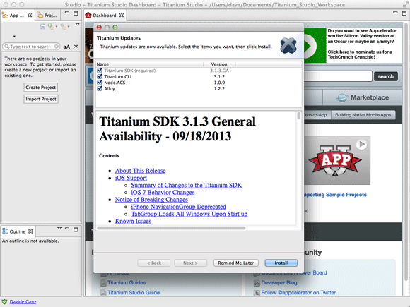 Appcelerator Titanium Studio Getting-Started on Debian Linux - Initial Set Up