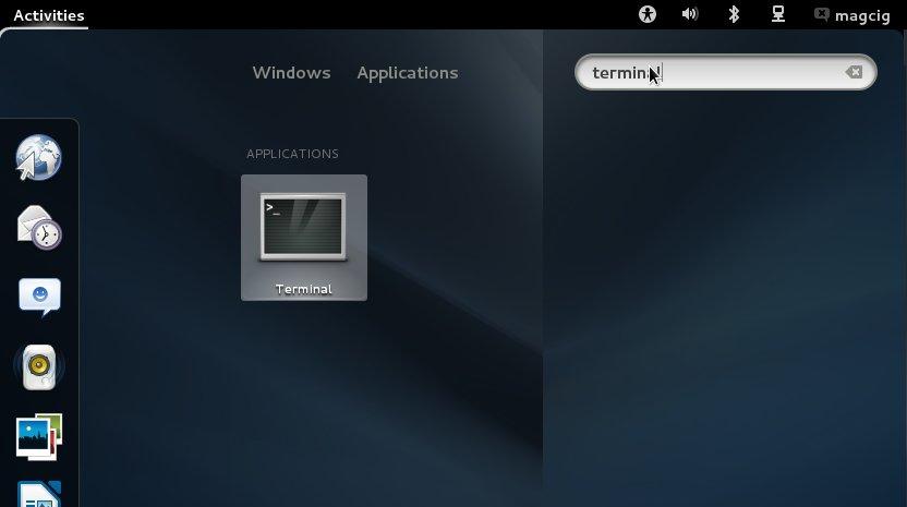Mageia Linux 2 GNOME 3 Open Terminal