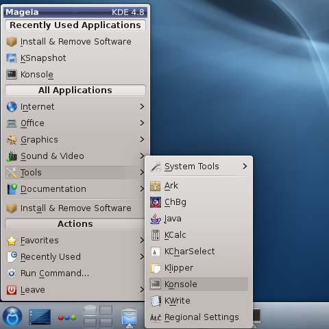 Mageia Linux 2 KDE4 Open Terminal