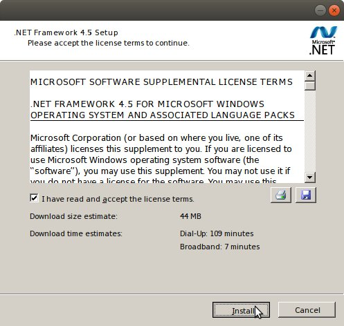 How to Install .NET 4.5 Ubuntu 17.10 with Wine - License Agreement
