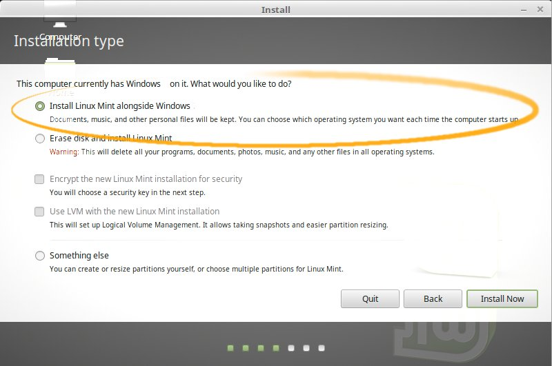 Install Linux Mint 18 Sarah on Top of Windows 7 - Installing Linux Mint alongside Windows 7