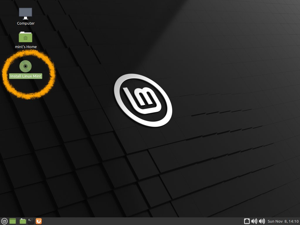 Install Linux Mint 20.x Mate on Parallels - Start Installation