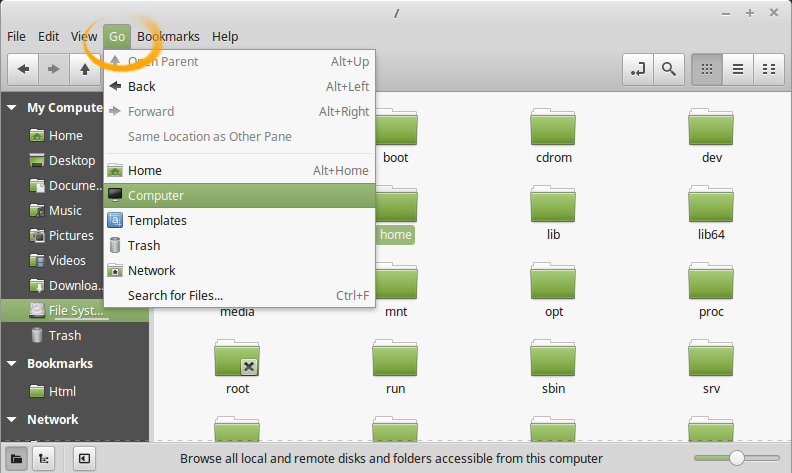 How to Access Folders & Drives in Linux Mint 18.1 Serena File Manager - Accessing Drives & CD-Rom