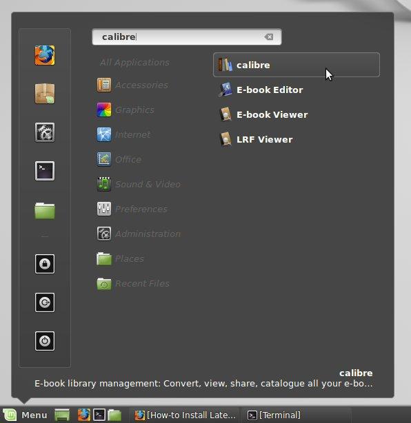 Installing Last Calibre on Linux Mint 18.x - Launcher