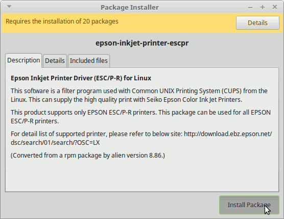 Driver Epson XP-422|XP-423|XP-425 Linux Mint 19.x Tara/Tessa/Tina/Tricia How to Download and Install -  Start Installation