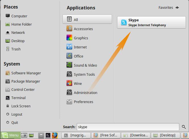 Skype Initial Setup Linux Mint - Linux Mint Launcher