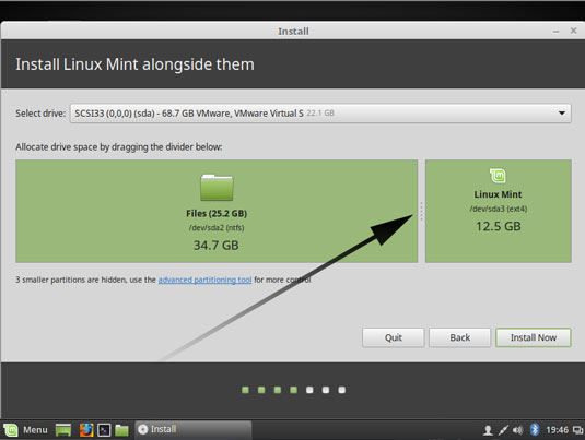 Install Linux Mint 18 Sarah Alongside Windows 10 - Preparing Installation to Hard Drive