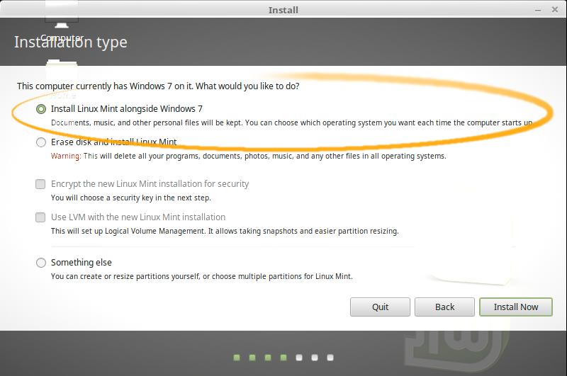 Install Linux Mint 18 Sarah on Top of Windows 7 - Installing Linux Mint alongside Windows 7