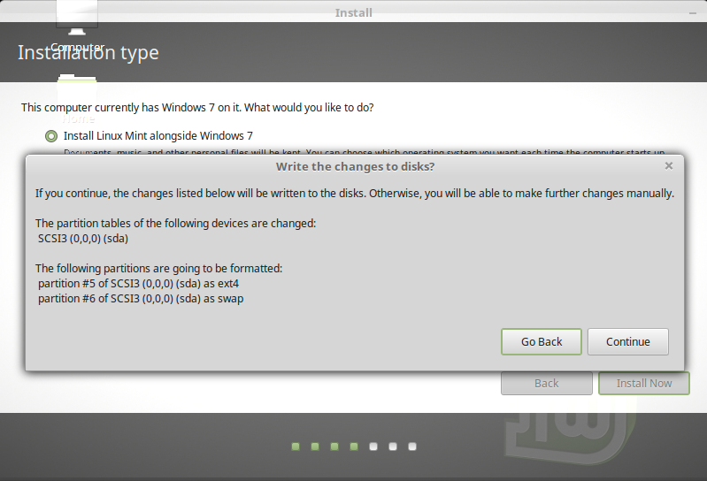 Getting-Started with Linux Mint 18 Sarah on Windows 7 - Easy Partitions Resizing