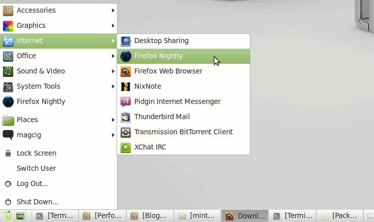 Linux Mint 13 Desktop with New Launcher