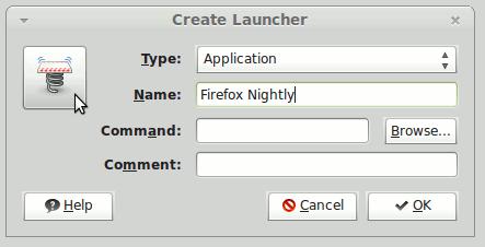 Linux Mint 13 Main Menu Create Launcher Select Icon