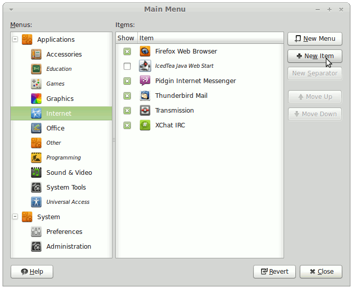 Linux Mint 13 Main Menu Add New Launcher