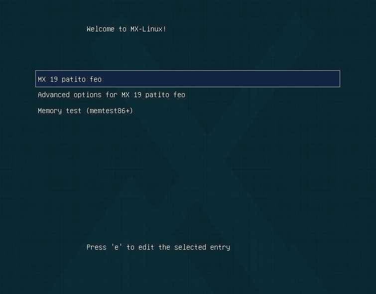 MX Stop X Server - edit grub command