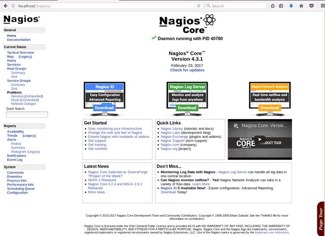 Nagios 4 Quick Start on openSUSE Linux - Nagios Web Interface