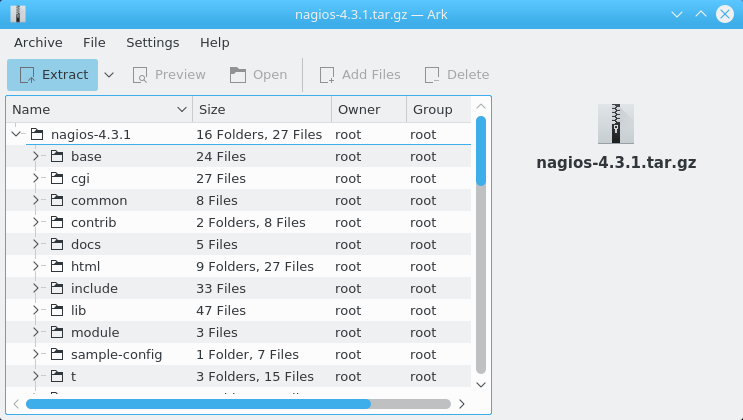 Getting-Started with Nagios Core for Linux Fedora 22+ - Extracting Nagios