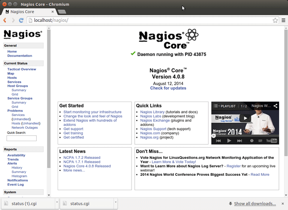 Nagios 4 Quick Start on Linux Xubuntu 16.04 Xenial LTS - Nagios Web Interface