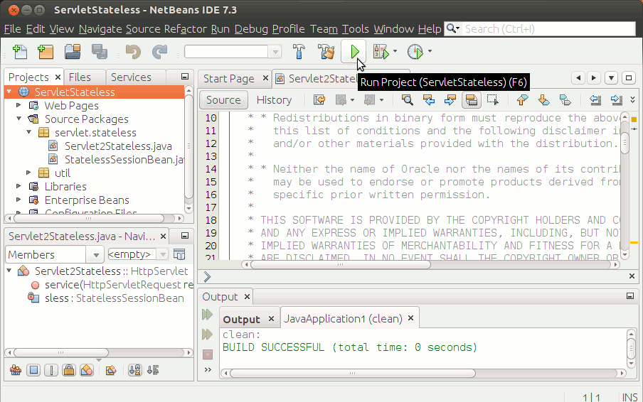 Quick-Start with Java JEE on Netbeans for Ubuntu - Running
