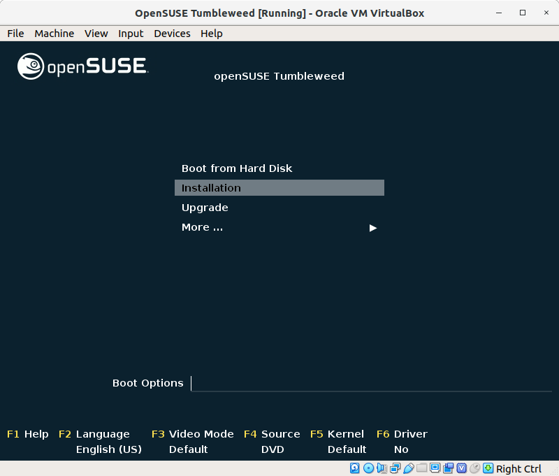 How to Install openSUSE Tumbleweed Virtual Machine on VirtualBox - Installation