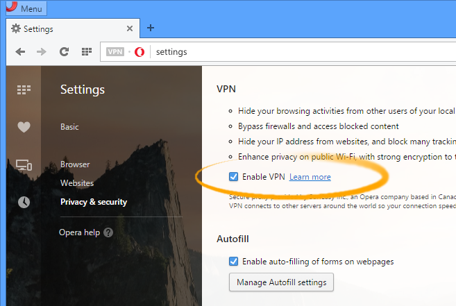 Install Opera for Mint 18.1 Serena - Enabling VPN