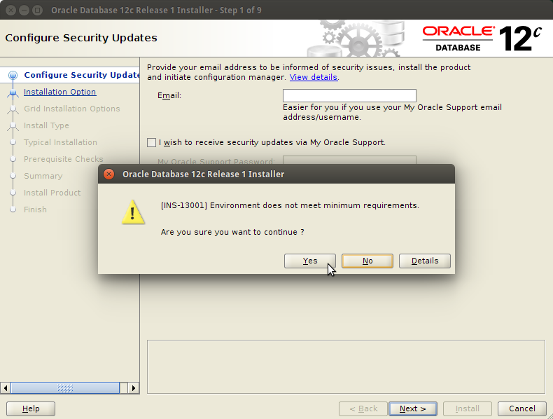 Oracle Database 12c R2 Installation for Ubuntu 16.04 Xenial - Confirm on Warning
