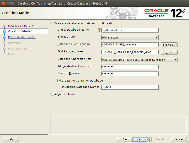 How to Create a Database Oracle 12c - setting parameters