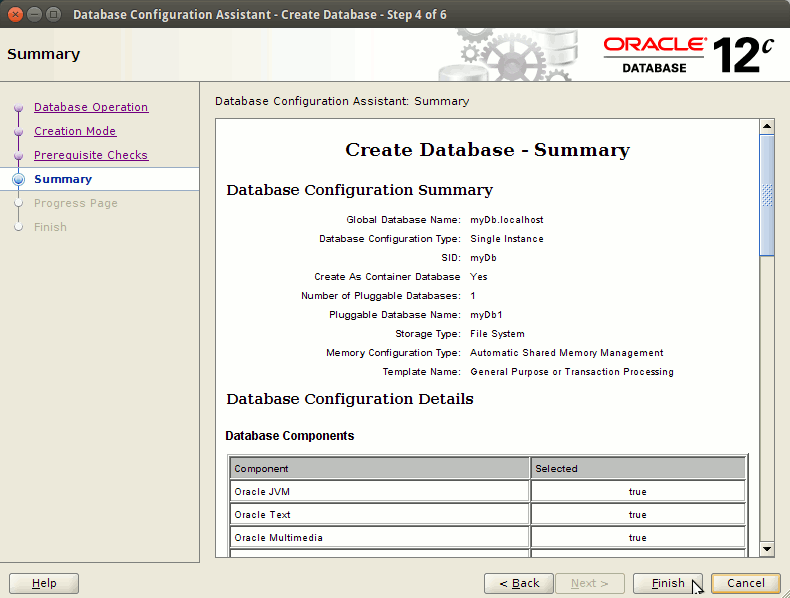 How to Create a Database Oracle 12c - db summary
