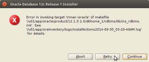 Oracle 12c Database Linux Installation TroubleShooting Error in invoking target 'irman ioracle' of makefile - Featured