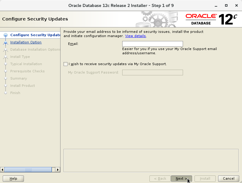 Oracle Database 12c R2 Installation for Oracle Linux 7 Step 1 of 13