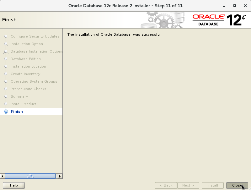 Oracle Database 12c R2 Installation for CentOS 7 Step 13 of 13