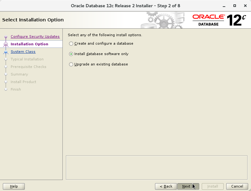 Oracle Database 12c R2 Installation for Oracle Linux 7 Step 3 of 13