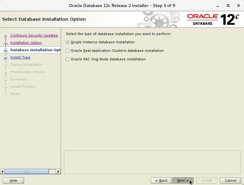 Oracle Database 12c R2 Installation for CentOS 7 Step 4 of 13