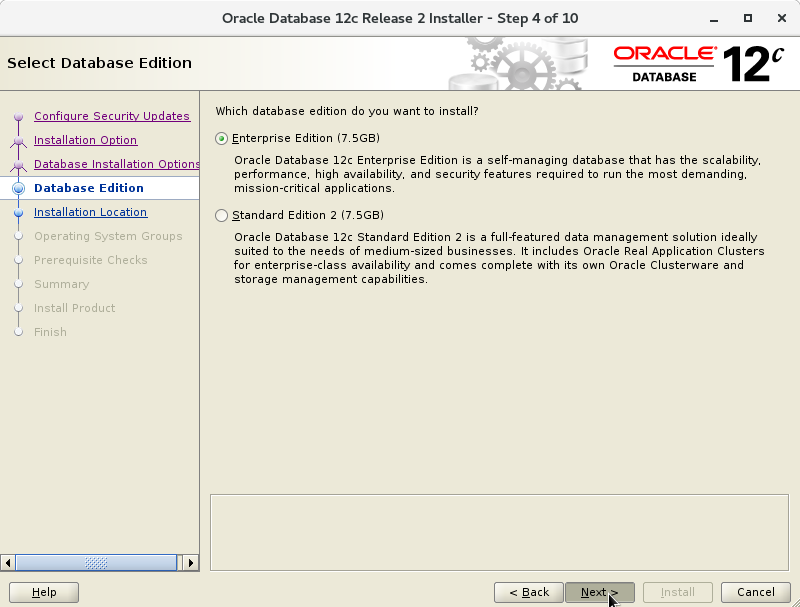 Oracle Database 12c R2 Installation for CentOS 7 Step 5 of 13
