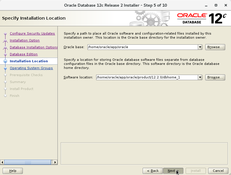 Oracle Database 12c R2 Installation for Oracle Linux 7 Step 6 of 13