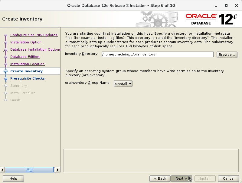 Oracle Database 12c R2 Installation for Oracle Linux 7 Step 7 of 13