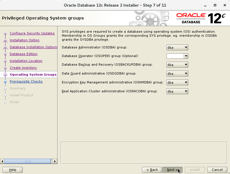 Oracle Database 12c R2 Installation for Oracle Linux 7 Step 8 of 13
