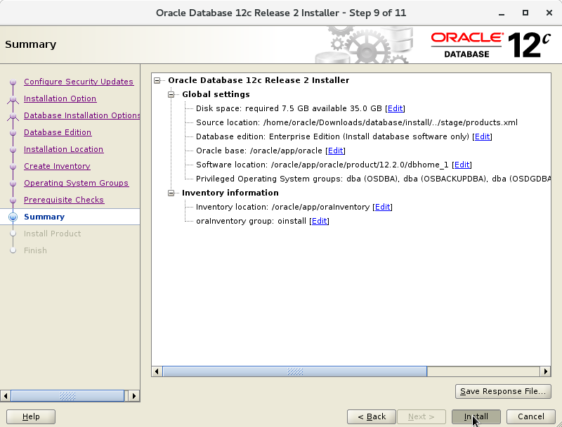 Oracle Database 12c R2 Installation for CentOS 7 Step 10 of 13