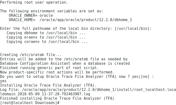 Oracle Database 12c R2 Installation for Oracle Linux 7 Step 12 of 13