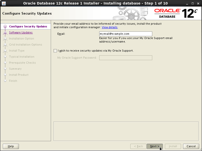 Oracle Database 12c R1 Installation for Linux Mint 19.x Tara/Tessa/Tina/Tricia Step 1 of 13