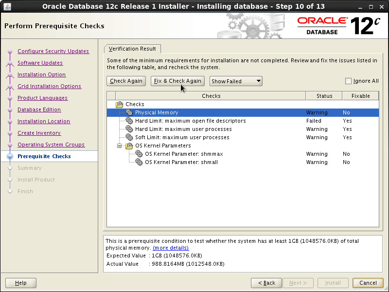 Oracle Database 12c R1 Installation for Linux Mint 19.x Tara/Tessa/Tina/Tricia Step 10 of 13