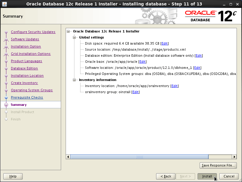Oracle Database 12c R1 Installation for Linux Mint 19.x Tara/Tessa/Tina/Tricia Step 11 of 13