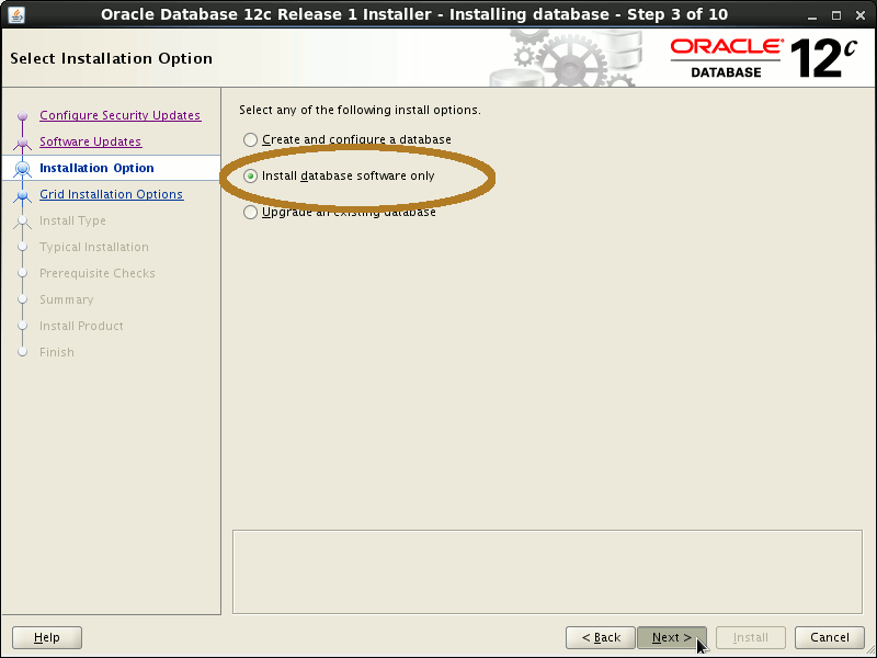 Oracle Database 12c R1 Installation for Linux Mint 19.x Tara/Tessa/Tina/Tricia Step 3 of 13
