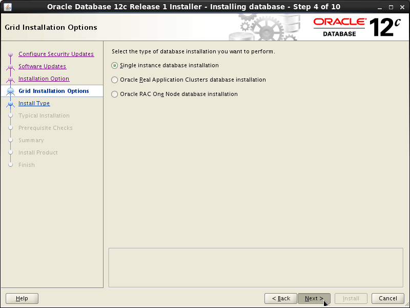 Oracle Database 12c R1 Installation for Linux Mint 19.x Tara/Tessa/Tina/Tricia Step 4 of 13