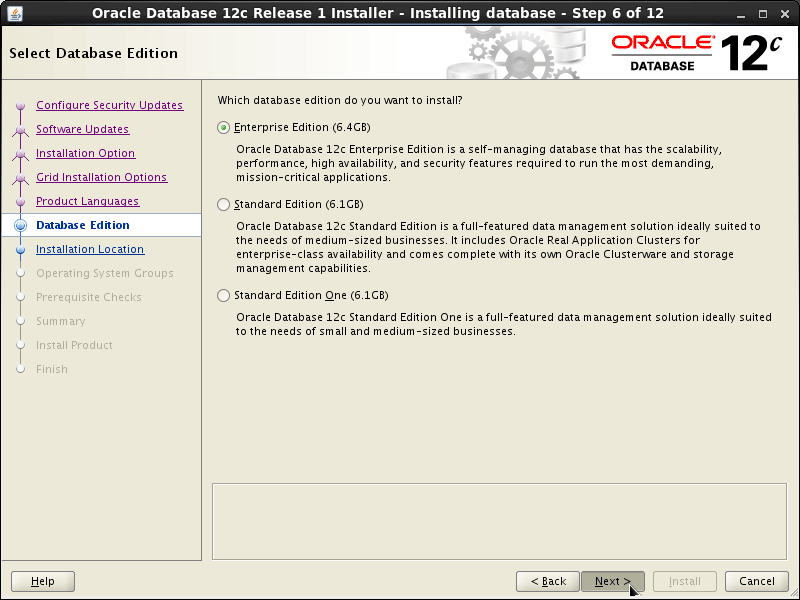 Oracle Database 12c R1 Installation for Linux Mint 19.x Tara/Tessa/Tina/Tricia Step 6 of 13