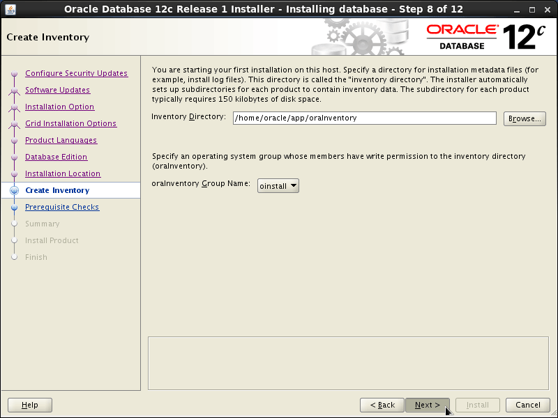 Oracle Database 12c R1 Installation for Linux Mint 19.x Tara/Tessa/Tina/Tricia Step 8 of 13
