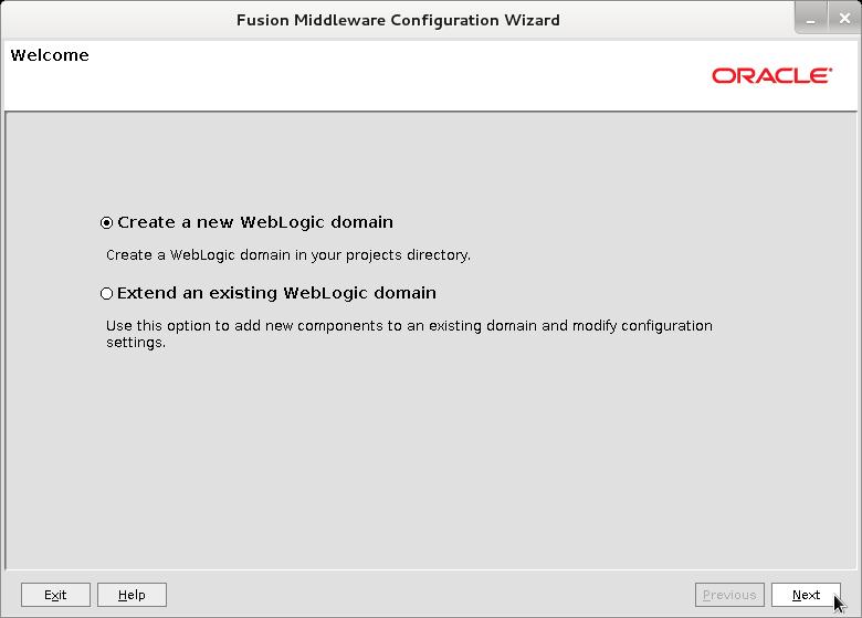 Bea WebLogic 12c Create Domain Wizard - Welcome