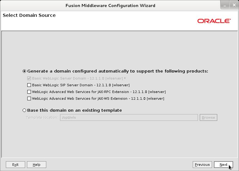 Bea WebLogic 12c Create Domain Wizard - Select Domain Source