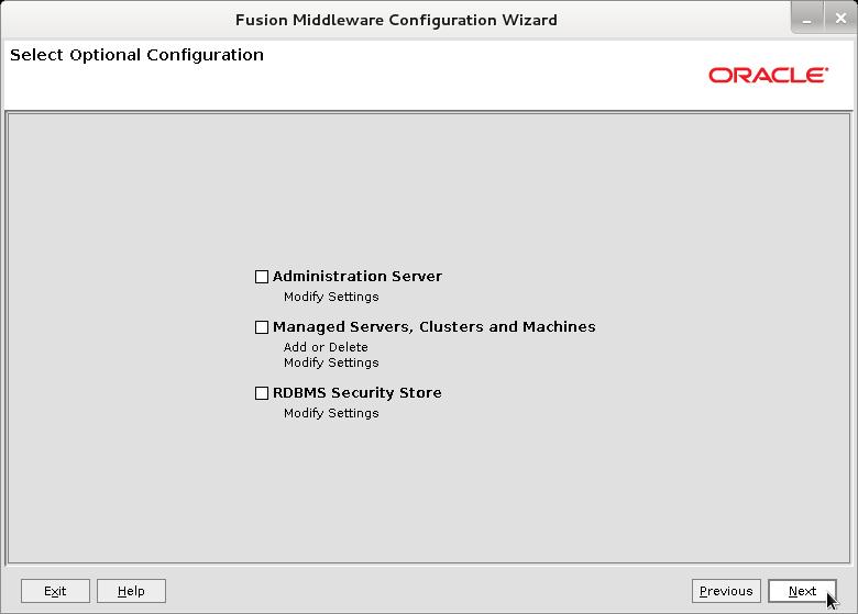 Bea WebLogic 12c Create Domain Wizard - Select Optional Configuration